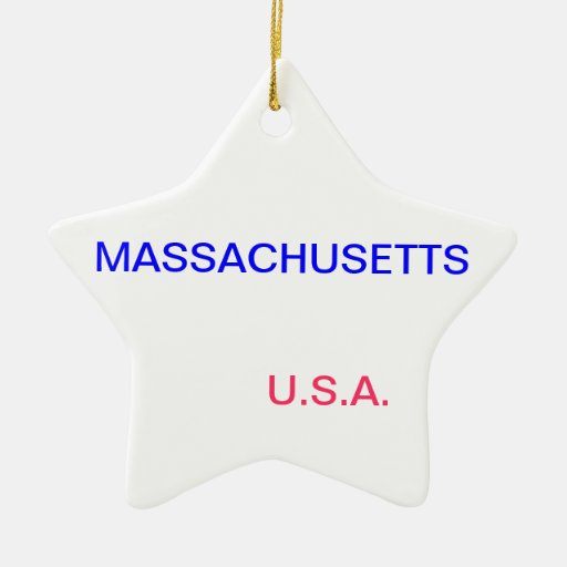 Star ornament with massachusetts and boston on it.