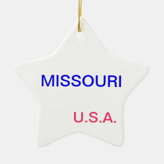 Star ornament with missouri and jefferson city on
