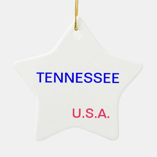 Star ornament with tennessee and nashville on it.