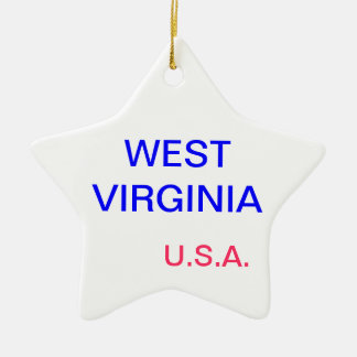Star ornament with west virginia and charleston on