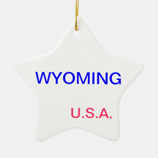 Star ornament with wyoming and cheyenne on it.