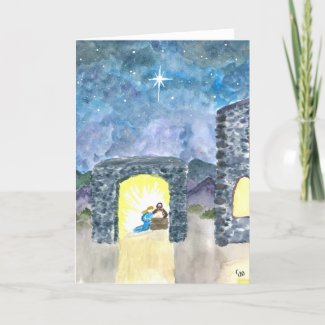 Star Over the Stable Christmas Card