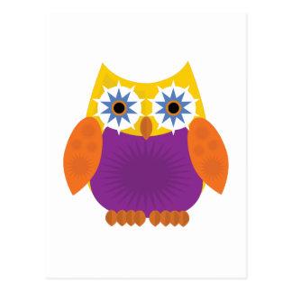 Star Owl - Yellow Orange Purple Postcard