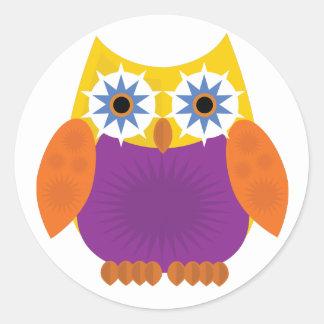 Star Owl - Yellow Orange Purple Classic Round Sticker