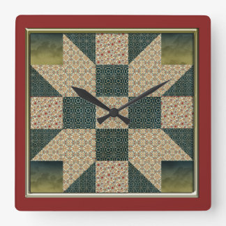 Star Patch Quilt Block Gold & Green no numbers Square Wallclock