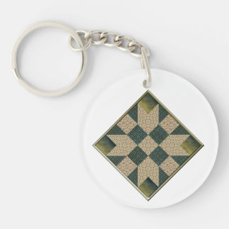 Star Patch Quilt Square Olive & Gold Single-Sided Round Acrylic Keychain