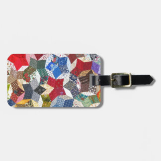 Star Patchwork Quilt Vintage Look Luggage Tag