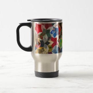 Star Patchwork Quilt Vintage Look Travel Mug