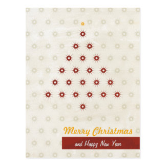 Star Pattern Christmas Tree Cream Red Postcard