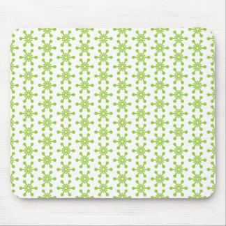 Star Pattern - Green on White Mouse Pad