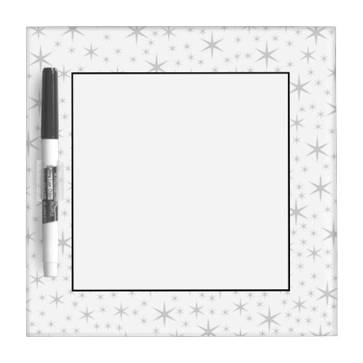 Star Pattern in White and Light Gray. Dry Erase Whiteboards