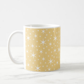 Star Pattern in White and Non-metallic Gold Color. Coffee Mug
