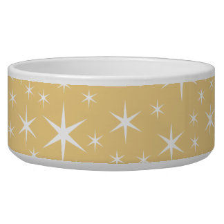 Star Pattern in White and Non-metallic Gold Color. Dog Water Bowls