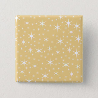 Star Pattern in White and Non-metallic Gold Color. Pinback Button