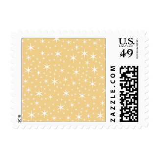 Star Pattern in White and Non-metallic Gold Color. Postage