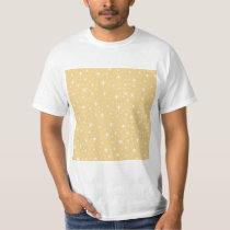 Star Pattern in White and Non-metallic Gold Color. T-Shirt