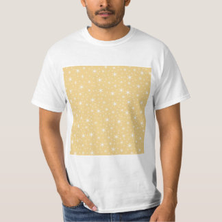 Star Pattern in White and Non-metallic Gold Color. T Shirt
