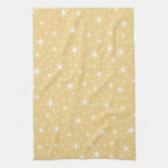 Star Pattern in White and Non-metallic Gold Color. Towel