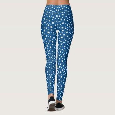 USA Themed Star pattern leggings - white and dark blue