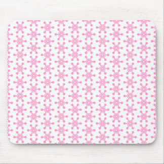 Star Pattern - Pink on White Mouse Pad