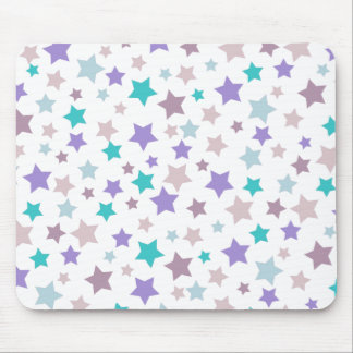 Star Pattern - Purple Pink and Blue on White Mouse Pad