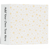 Star Pattern, White and Non-metallic Gold Color. 3 Ring Binder