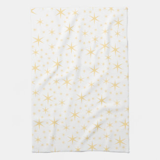 Star Pattern, White and Non-metallic Gold Color. Towels
