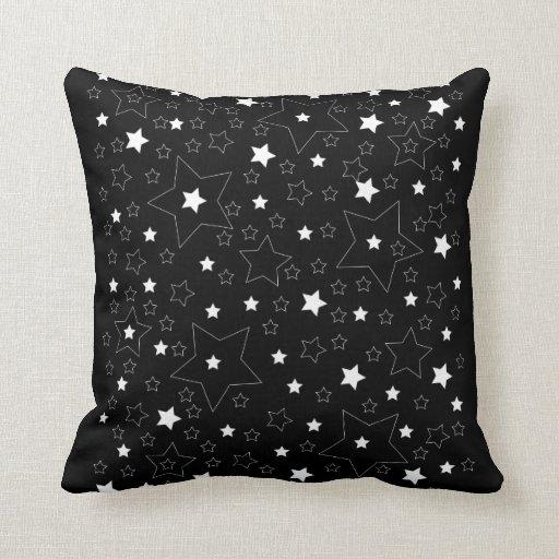 Star Pattern White on Black Pillows