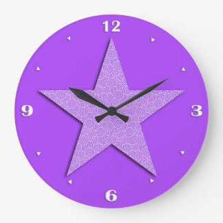 Star patterned in Chinese spiral - lavender Clocks