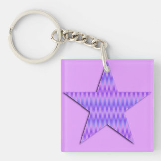 Star patterned in silky stripes - orchid keychain