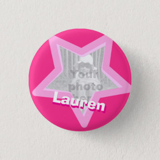 Star photo fun hot pink name button/badge pinback button