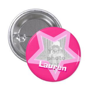 Star photo fun hot pink name button/badge pinback button