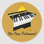 Star Piano Performance Round Stickers