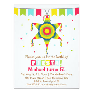 Star Pinata Mexican Fiesta Kids Birthday Party Card