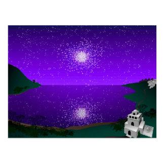 """""""Star Port"""" - Star Cluster over Alien Landscape Postcard"""