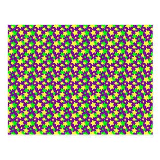 STAR POWER: GREEN & YELLOW PARADE on PURPLE ~ Postcard