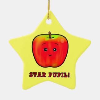 Star Pupil: Boy Apple Double-Sided Star Ceramic Christmas Ornament