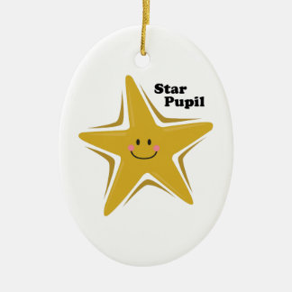Star Pupil Double-Sided Oval Ceramic Christmas Ornament