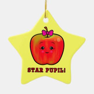 Star Pupil: Girl Apple Double-Sided Star Ceramic Christmas Ornament