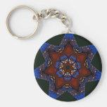 Star Quilt Basic Round Button Keychain