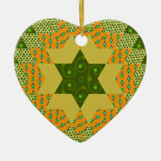 Star Quilt in Green and Yellow Ceramic Ornament