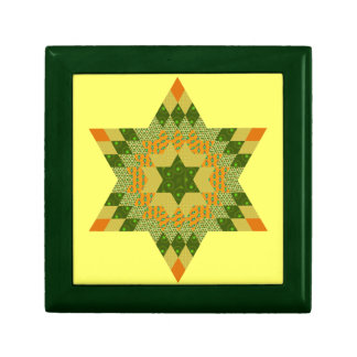 Star Quilt in Green and Yellow Gift Boxes