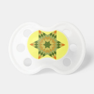 Star Quilt in Green and Yellow Pacifier