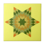Star Quilt in Green and Yellow Tile
