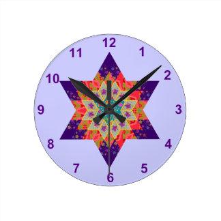 Star Quilt in Purple and Orange Clock