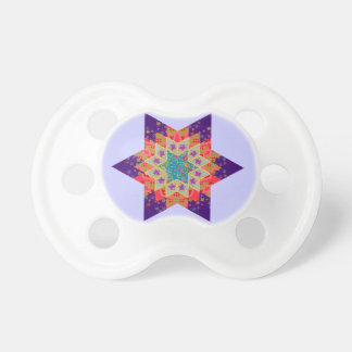 Star Quilt in Purple and Orange Pacifier