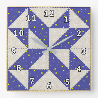 Star Quilt Square Wall Clock