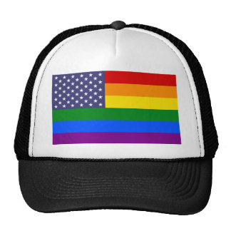 Star Rainbow American Flag Trucker Hat