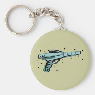 Star Ray Gun Laser Pistol Basic Round Button Keychain