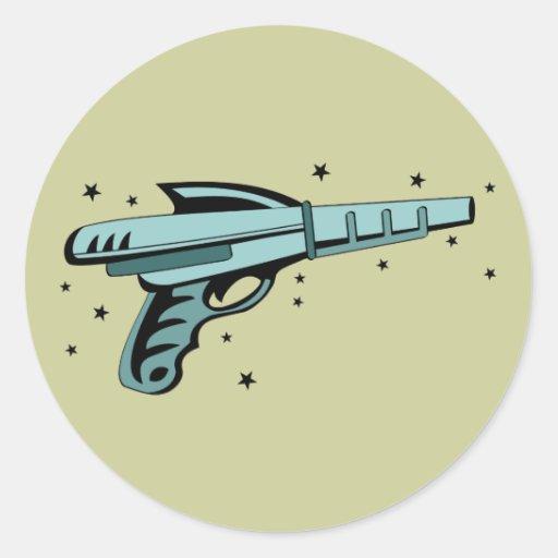 Star Ray Gun Laser Pistol Classic Round Sticker
